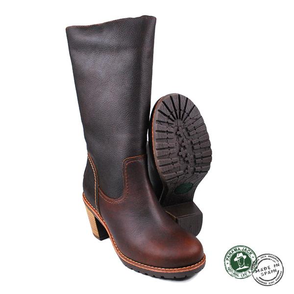 【Panama Jack】Nimes皮革高跟長靴/女靴 深棕色(P8586W-CAS)