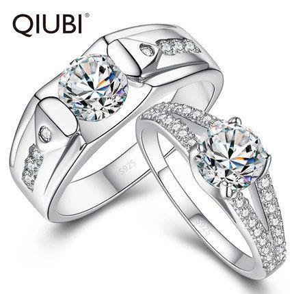925銀情侶戒指女韓版對戒子食指男結婚指環一對
