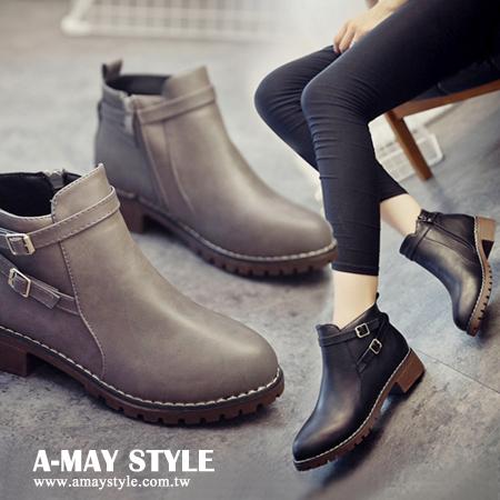 踝靴-英倫雙皮帶扣低跟短靴