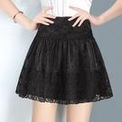 歐根紗蓬蓬裙黑色短裙女半身裙2021新款鬆緊腰大碼A字裙冬裙 快速出貨