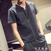亞麻衫 男士短袖T恤夏季棉麻亞麻套裝大碼男裝v領中版風潮寬鬆休閒上衣潮 小艾時尚