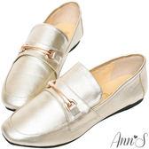 Ann'S成熟日子-金屬扣飾真皮柔軟綿羊皮紳士平底鞋-金