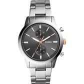 FOSSIL 計時手錶 Townsman-灰x銀/44mm FS5407