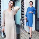 孕婦連身裙秋冬新款毛衣裙中長款寬鬆加厚針織打底衫上班衣服冬裝