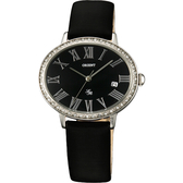 ORIENT 東方錶 LADY ROSE 羅馬晶鑽橢圓女錶-黑 FUNEK006B