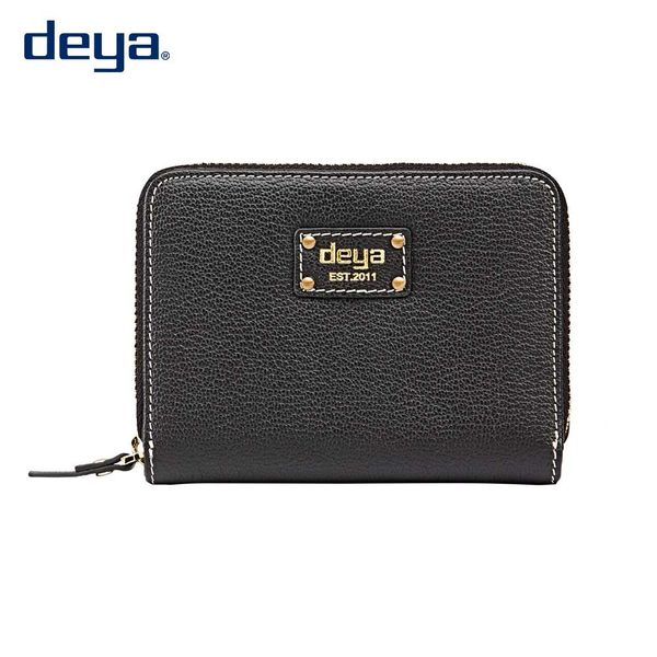deya 波爾卡 簡約時尚真皮拉鍊短夾 母親節送禮