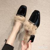 大尺碼穆勒鞋女2018新款韓版粗跟方頭毛毛拖中跟英倫百搭懶人鞋包頭半拖鞋 DJ1925『毛菇小象』