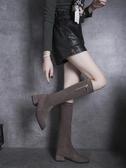 長靴 新款秋季顯瘦百搭長靴女粗跟瘦瘦靴中跟圓頭側拉鏈長筒靴子女  魔法鞋櫃