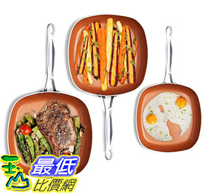 [8美國直購] 不沾鍋 Gotham Steel 1682 Nonstick Copper Square Shallow Pan 3 Piece Cookware Set Chef Daniel Green