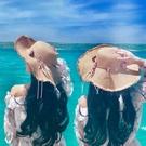 遮陽帽-帽子女太陽帽日本出游沙灘防曬遮陽草帽海邊度假大檐防紫外線夏天【全館免運】