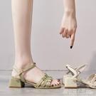 女鞋夏季新款仙女風一字扣帶涼鞋女粗跟網紅...