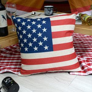 異國風 棉麻舒適方型抱枕.靠枕_美國國旗