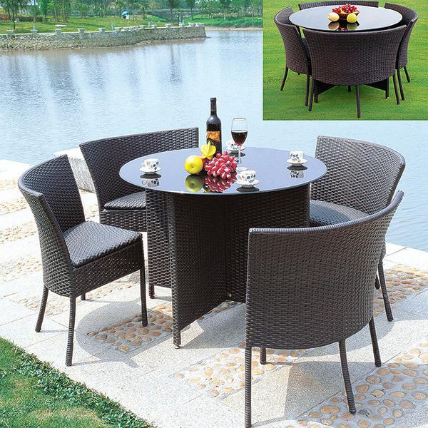 戶外陽台桌椅組合 簡約休閒庭院花園露台藤椅三五件套 陽台小茶幾
