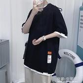 假兩件T恤 短袖t恤男夏季ins寬松假兩件上衣韓版潮流大碼男士半袖體恤衫 有緣生活館