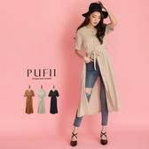 現貨◆PUFII-洋裝 V領排釦襯衫長洋裝(附綁帶)- 0423 春【CP18398】