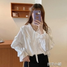 長袖襯衫白色襯衫女設計感外穿季洋氣甜美減齡百搭長袖上衣服
