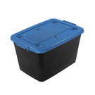 BQ800-1滑輪整理箱(底輪)-藍90L