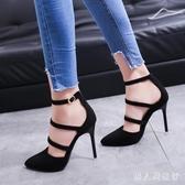 中大尺碼高跟涼鞋 尖頭一字型韓版紅黑兩色細跟女款單鞋 DR25151【男人與流行】