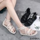 PAPORA後拉鍊休閒羅馬涼鞋KB075黑/米