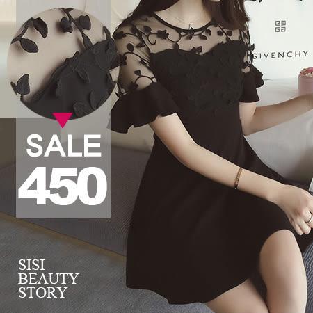 SISI【D6183】甜美優雅淑女百搭圓領肩部網紗蕾絲雕花拼接修身連身裙短裙洋裝