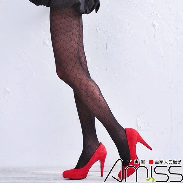 Amiss-襪子團購網♥【A133-58】流行花紋褲襪-蝴蝶結方格