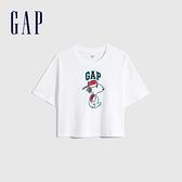 Gap女裝 Gap x Snoopy 史努比系列純棉落肩袖T恤 685727-光感亮白