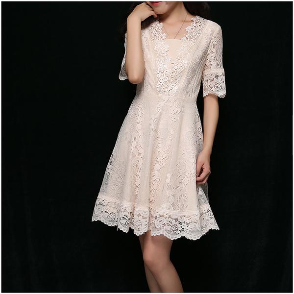 [超豐國際]Z 歐式少女~~短款 蕾絲連衣裙 706U033