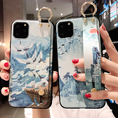 蘋果 iPhone11 Pro Max XS XR XS MAX iX i8+ i7+ 藍色山水腕繩組 手機殼 全包邊 手袋 支架 可掛繩 保護殼
