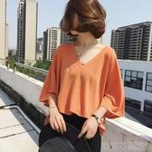夏季韓版胖mm寬鬆大V領黑色短袖t恤女大碼冰絲針織200斤上衣潮 茱莉亞