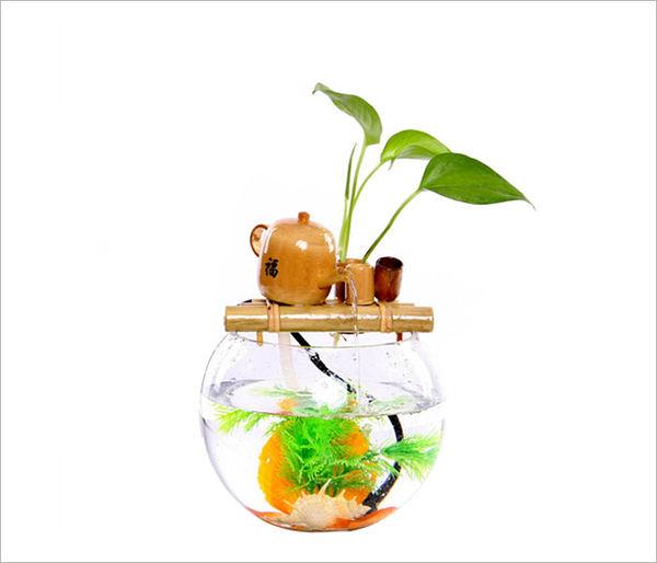 水鄉故事竹藝流水噴泉工藝品 玻璃魚缸創意擺設