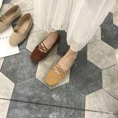 圓頭鞋韓系 復古百搭純色雙帶交叉芭蕾舞鞋套腳淺口絨面平底鞋小單鞋女 初語生活