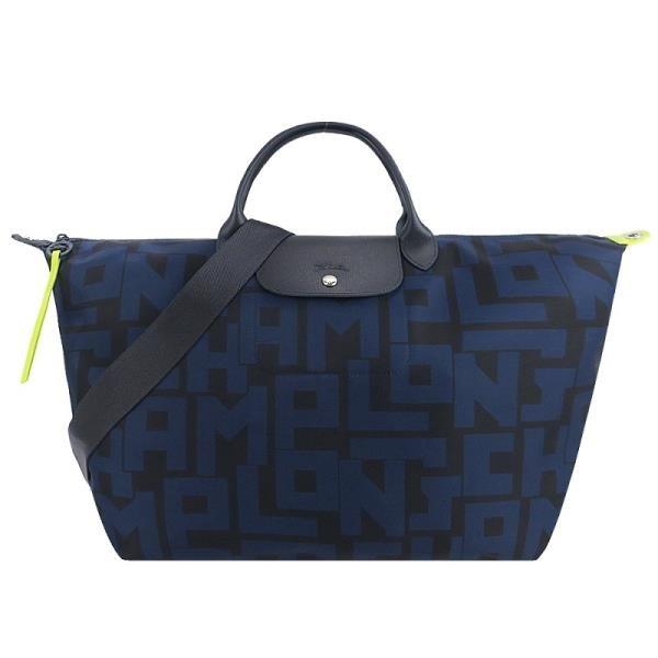 【南紡購物中心】LONGCHAMP Le Pliage LGP系列滿版字母尼龍短把手提/斜背兩用旅行袋(大/黑X海軍藍)