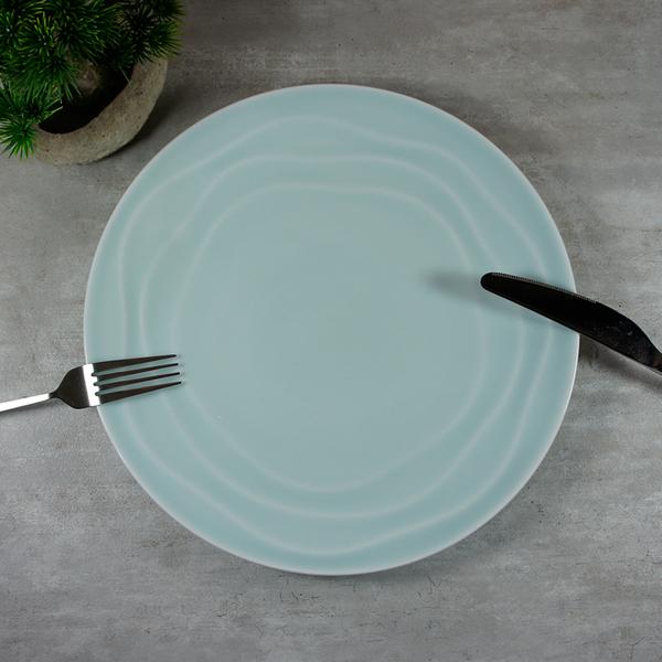 青瓷玫瑰紋餐盤 菜盤10.75吋 淺盤 陶瓷盤 圓盤