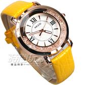 KEZZI珂紫 羅馬滾鑽 低調奢華 女錶 玫瑰金x黃色 KE747黃 創意流沙晶鑽皮革腕錶 水晶 防水手錶