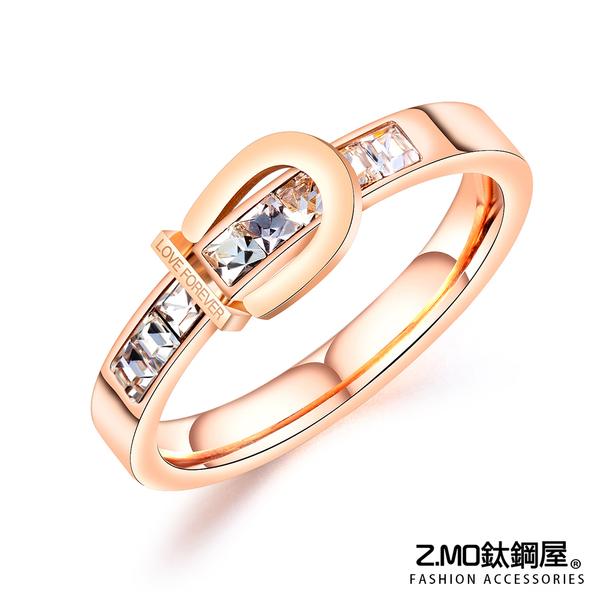 Z.MO鈦鋼屋 女生戒指 鑲鑽玫瑰金色戒指 扣環造型 白鋼戒指 單品設計【BKS663】