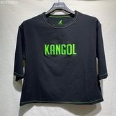 KANGOL 女款 短版 立體LOGO 短袖 黑色 6122100820 【KAORACER】