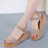 厚底涼鞋涼鞋女夏季百搭舒適坡跟厚底中跟夏平跟韓版平底學生真皮女鞋春季特賣