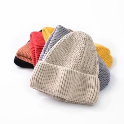 毛帽-純色捲邊休閒簡約男女針織帽6色73ug25【巴黎精品】