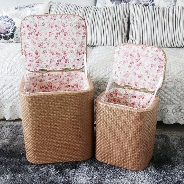 簡約多功能收納凳實木可折疊坐人沙發儲藏物整理箱擱腳換鞋皮凳子【快速出貨】