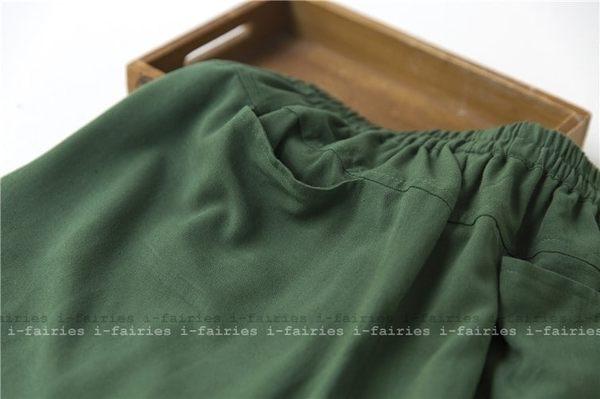 布衣棉麻夏季女亞麻純色對褶顯瘦鬆緊腰短褲熱褲336★ifairies【41271】
