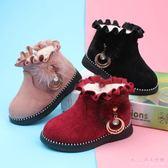 中大尺碼兒童雪靴 女寶寶雪地靴兒童小童幼兒棉靴軟底冬季公主鞋子棉鞋LB6947【Rose中大尺碼】