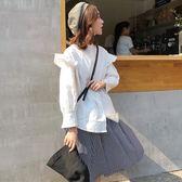 韓版小清新花邊拼接木耳邊純色百搭襯衫上衣女秋季新款長袖襯衣潮