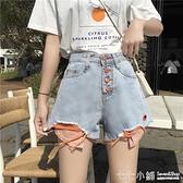 牛仔短褲~ 2021新款韓版泫雅褲子高腰破洞牛仔短褲女夏大碼寬鬆顯瘦寬管熱褲