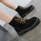 短靴女 新款秋冬英倫風平底機車學生厚底系帶韓版加絨短靴潮馬丁靴女 維多