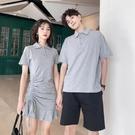 情侶裝 情侶裝夏裝新款小眾設計感polo領氣質顯瘦女連衣裙韓版短袖T恤潮
