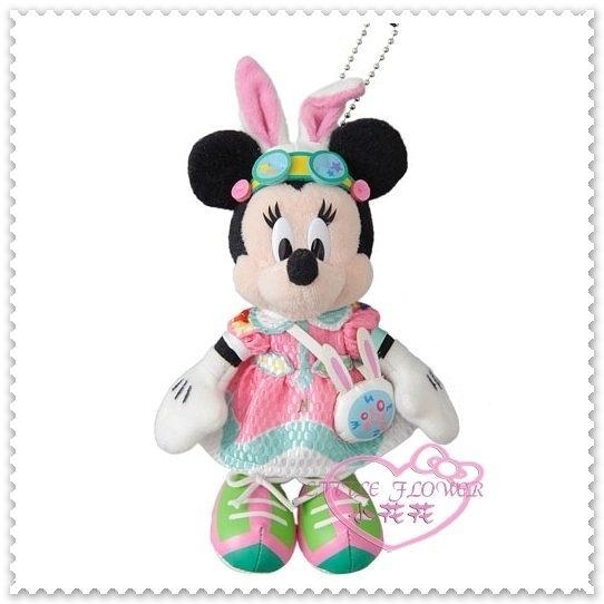 小花花日本精品♥ 2017日本迪士尼 限定 米妮 復活節主題 變裝兔子 粉色 造型 布偶 吊飾 96505106