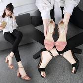 粗跟涼鞋 2018韓版新款夏季高跟鞋涼鞋女夏粗跟中跟一字扣小碼百搭 JA2801『美鞋公社』