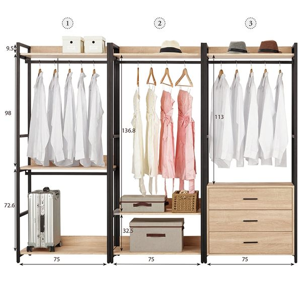 【森可家居】艾麗斯7.8尺組合衣櫥(編號1.2.3) 8CM590-2 開放式 衣櫃 衣物收納 LOFT工業風