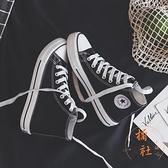 高幫板鞋女夏季休閒帆布韓版百搭氣質布鞋【橘社小鎮】