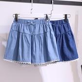 女童短褲 女童牛仔短褲外穿2021年夏季純棉百搭兒童褲子潮寬鬆薄款蕾絲裙褲